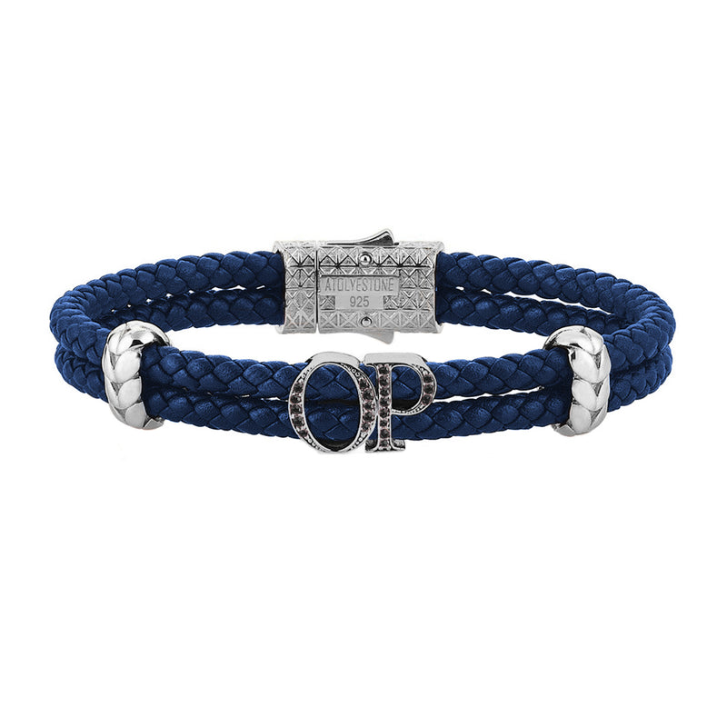 Atolyestone Mens Personalized Leather Bracelet - Silver - Pave Black Diamond - Blue