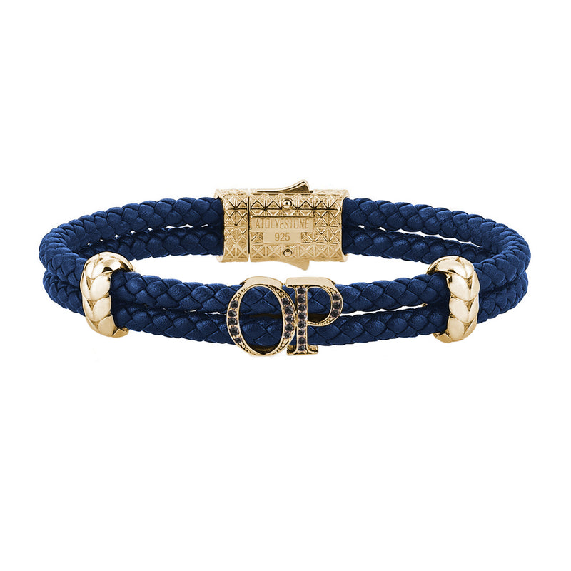Atolyestone Mens Personalized Leather Bracelet - Yellow Gold - Pave Black Diamond - Blue