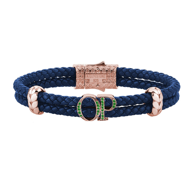 Atolyestone Mens Personalized Leather Bracelet - Rose Gold - Pave Emerald - Blue