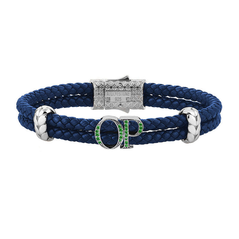 Atolyestone Mens Personalized Leather Bracelet - Silver - Pave Emerald - Blue