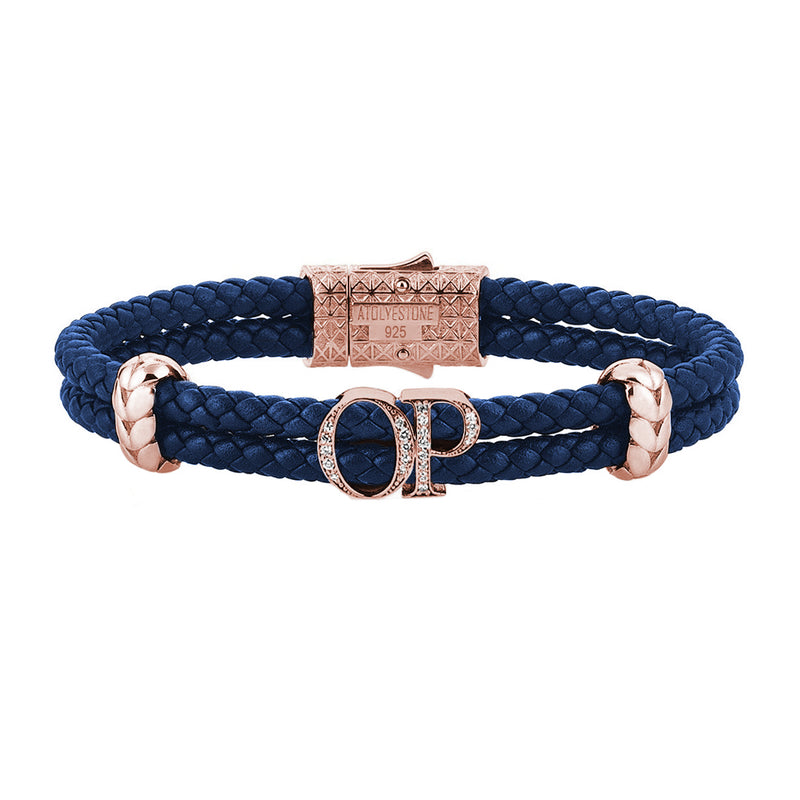 Atolyestone Mens Personalized Leather Bracelet - Rose Gold - Pave White Diamond - Blue