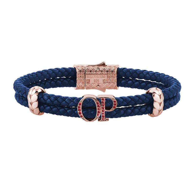 Atolyestone Mens Personalized Leather Bracelet - Rose Gold - Pave Ruby - Blue