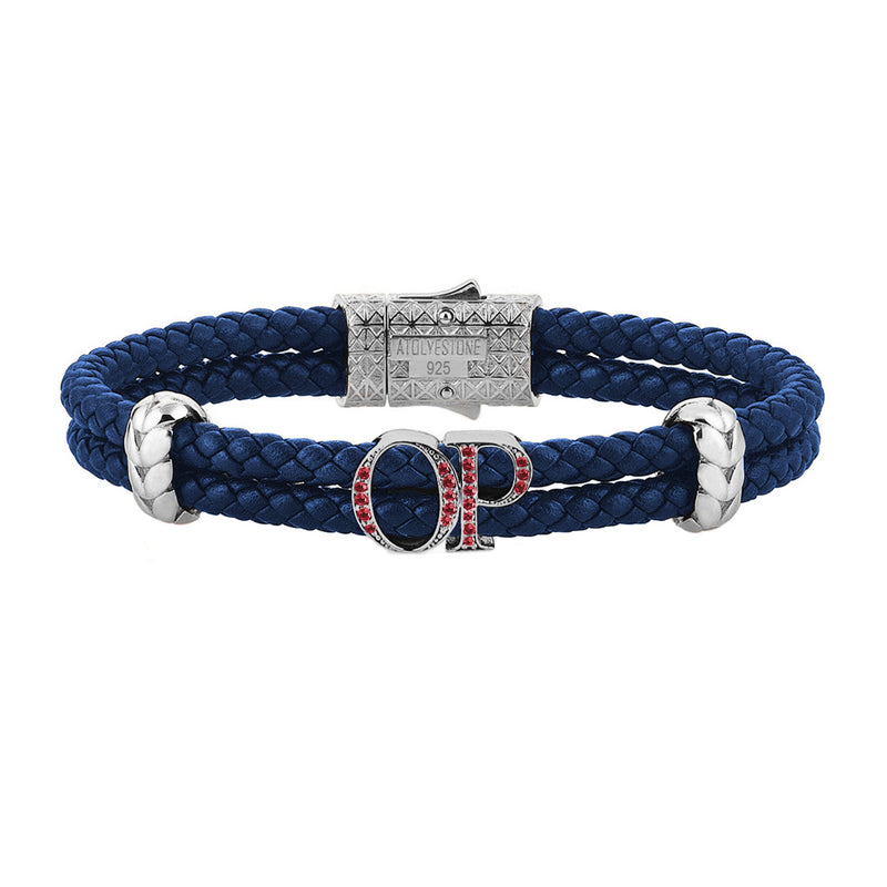 Atolyestone Mens Personalized Leather Bracelet - Silver - Pave Ruby - Blue
