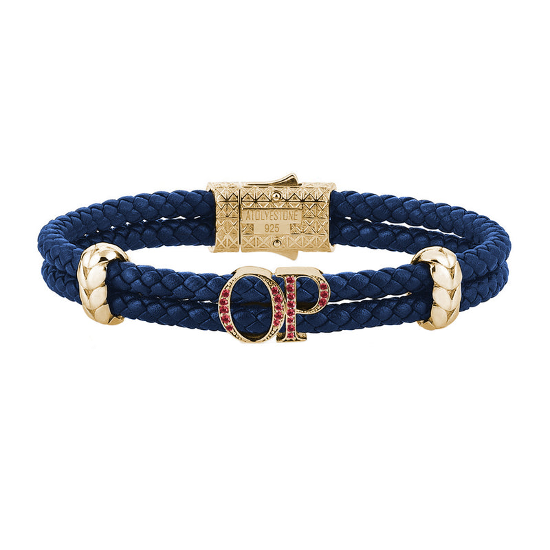 Atolyestone Mens Personalized Leather Bracelet - Yellow Gold - Pave Ruby - Blue