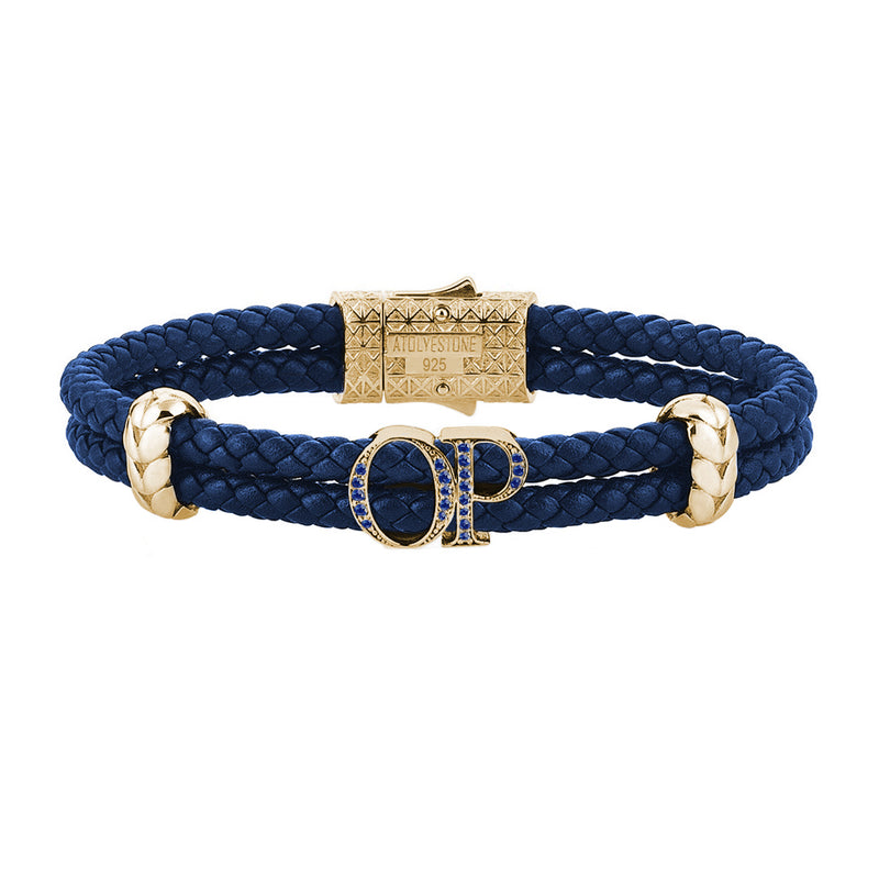 Atolyestone Mens Personalized Leather Bracelet - Yellow Gold - Pave Sapphire - Blue