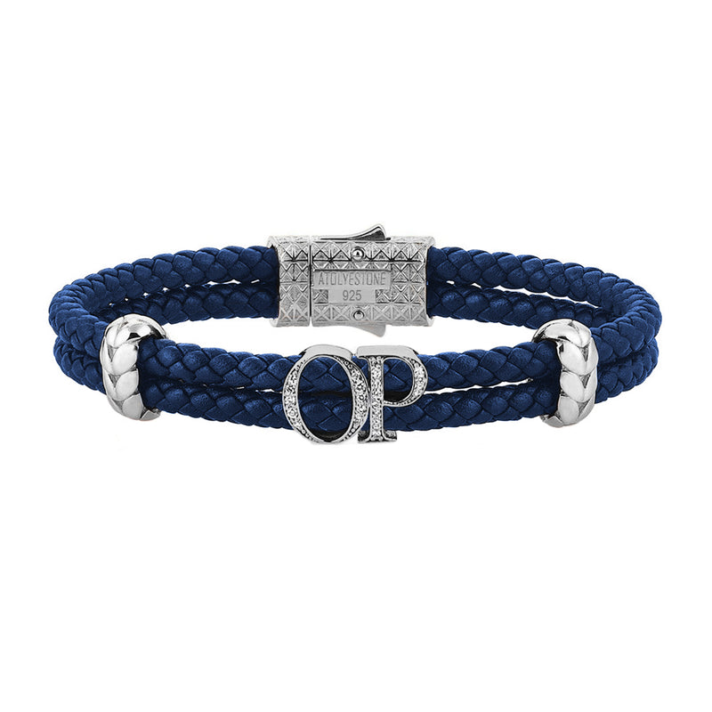 Atolyestone Mens Personalized Leather Bracelet - Silver - Pave White Diamond - Blue
