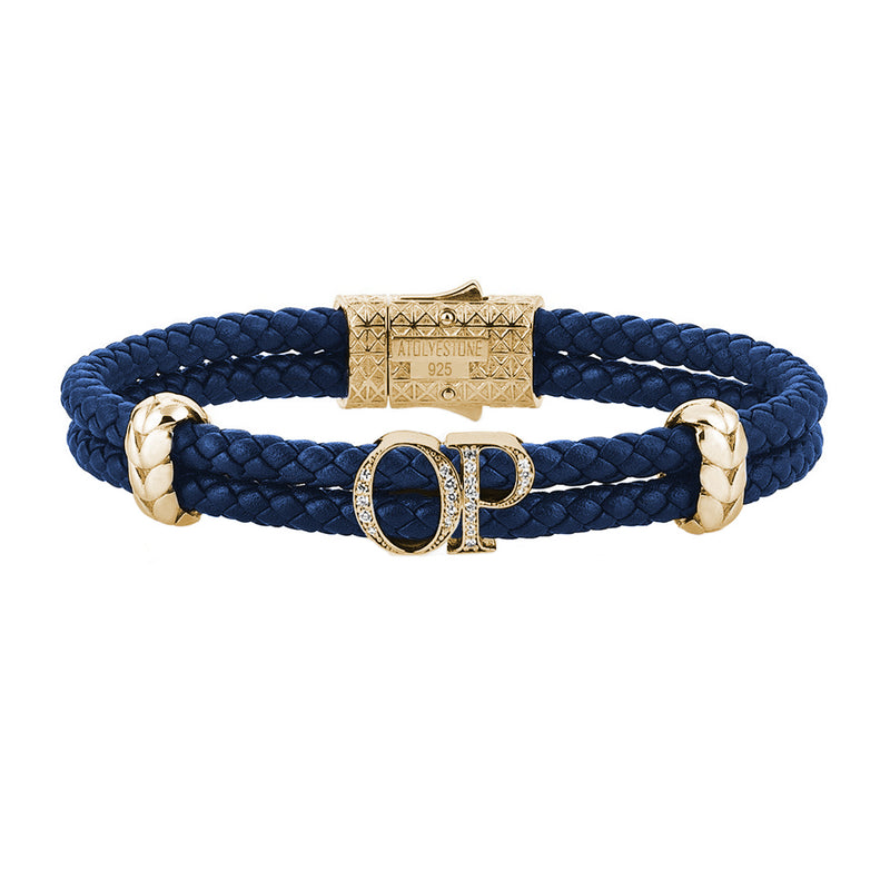 Atolyestone Mens Personalized Leather Bracelet - Yellow Gold - Pave White Diamond - Blue