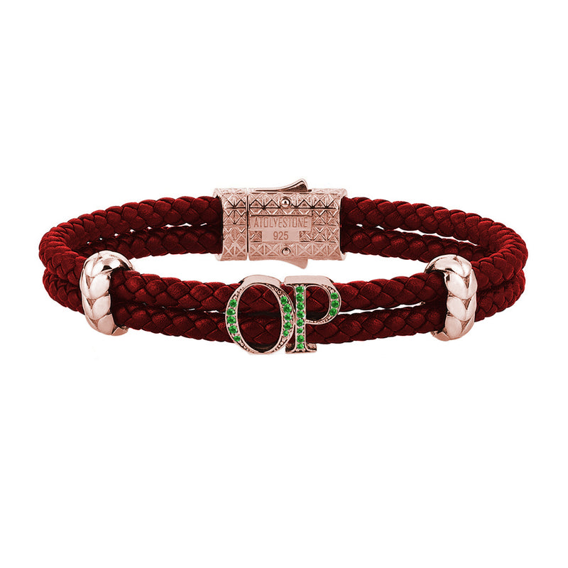 Atolyestone Mens Personalized Leather Bracelet - Rose Gold  - Emerald