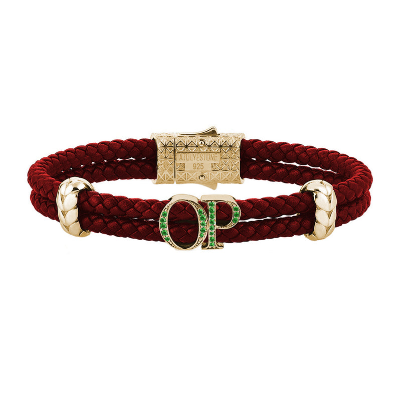 Atolyestone Mens Personalized Leather Bracelet - Yellow Gold - Emerald