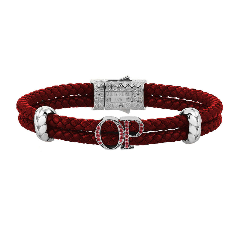 Atolyestone Mens Personalized Leather Bracelet - SIlver - Ruby
