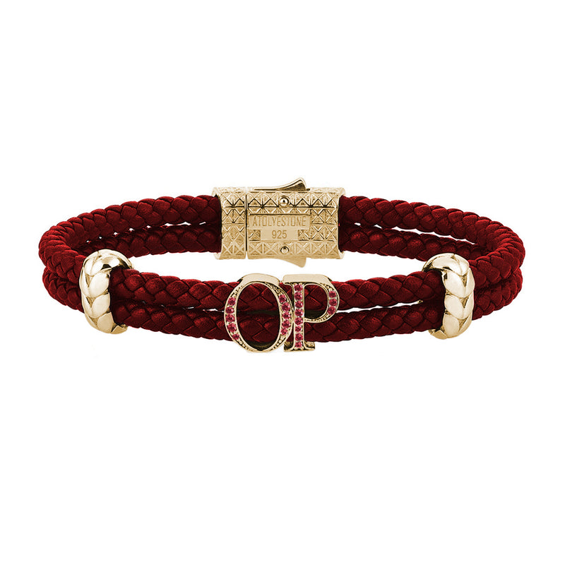 Atolyestone Mens Personalized Leather Bracelet - Rose Gold - Ruby