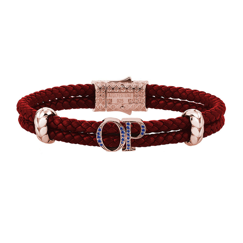 Atolyestone Mens Personalized Leather Bracelet - Rose Gold - Sapphire