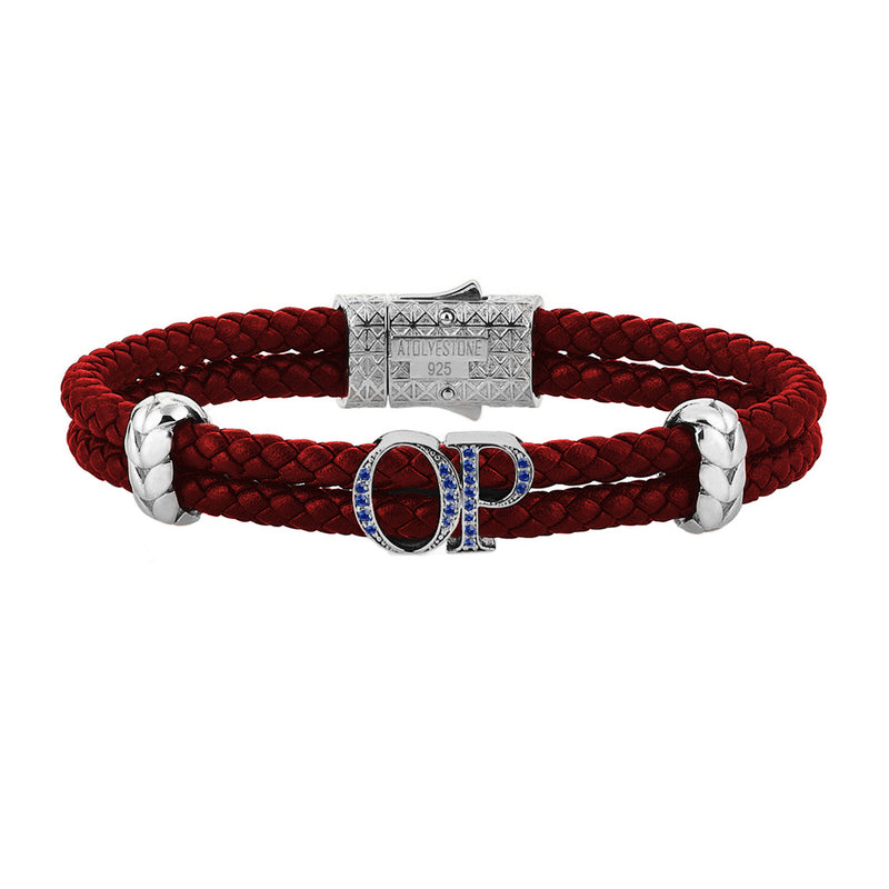 Atolyestone Mens Personalized Leather Bracelet - SIlver - Sapphire