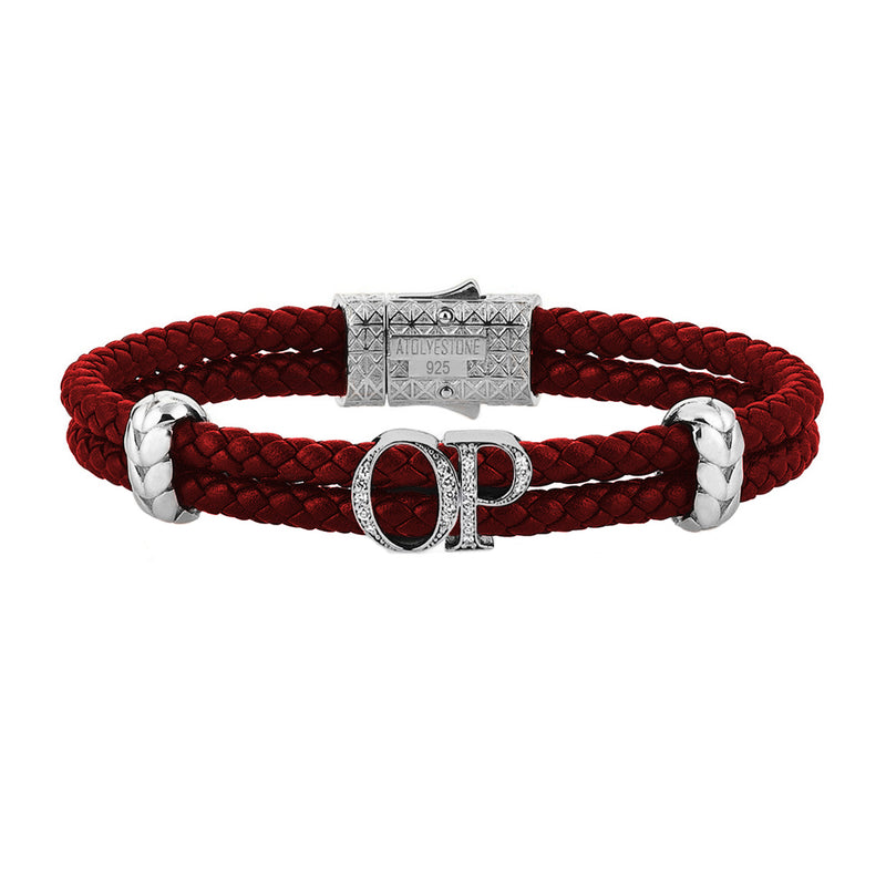 Atolyestone Mens Personalized Leather Bracelet - SIlver - White Diamond