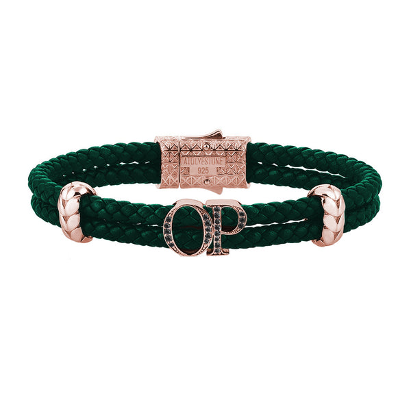 Atolyestone Mens Personalized Leather Bracelet - Rose Gold - Pave Black Diamond - Dark Green