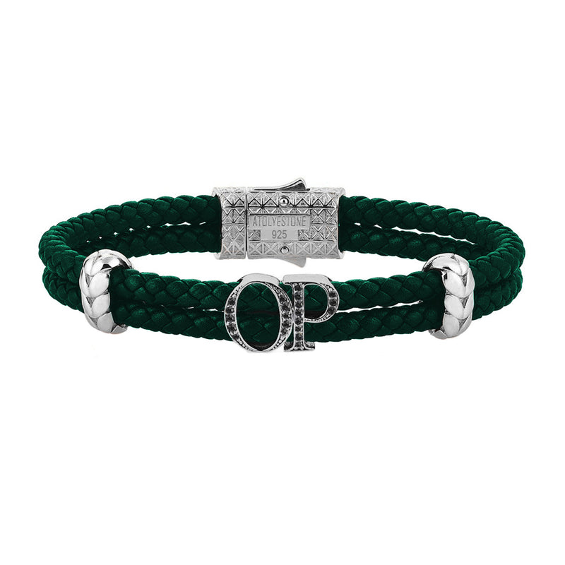 Atolyestone Mens Personalized Leather Bracelet - Silver - Pave Black Diamond - Dark Green