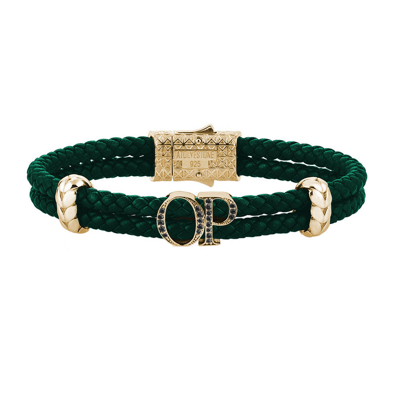 Atolyestone Mens Personalized Leather Bracelet - Yellow Gold - Pave Black Diamond - Dark Green