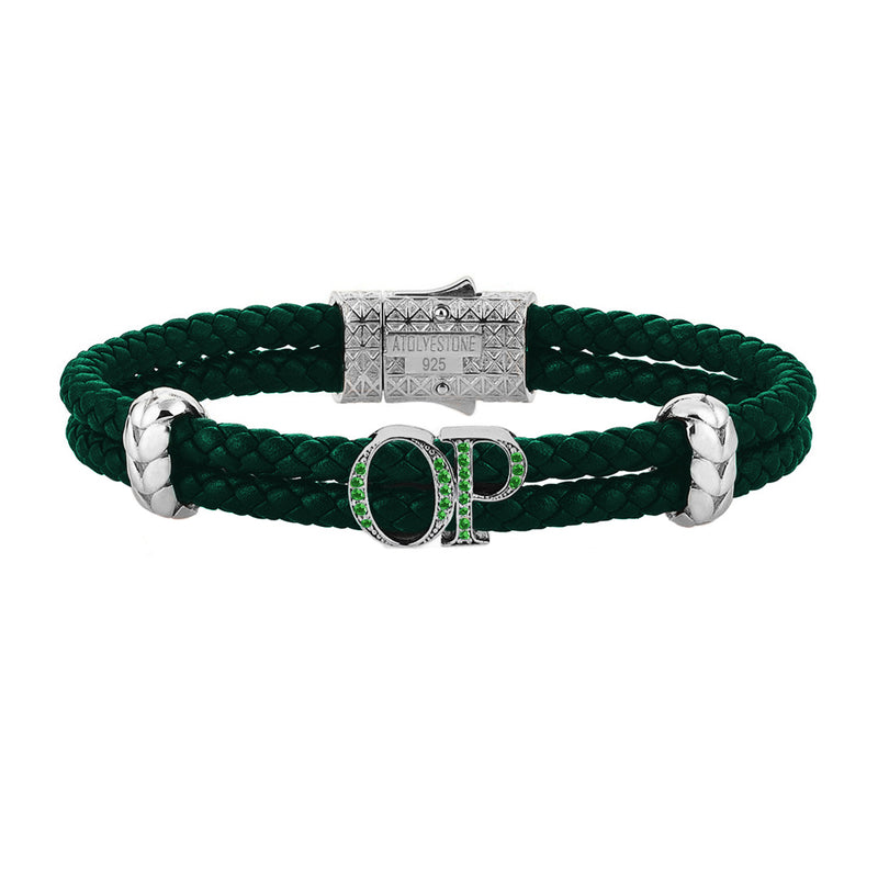 Atolyestone Mens Personalized Leather Bracelet - Silver - Pave Emerald - Dark Green
