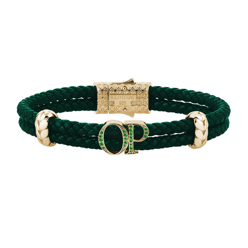 Atolyestone Mens Personalized Leather Bracelet - Yellow Gold - Pave Emerald - Dark Green