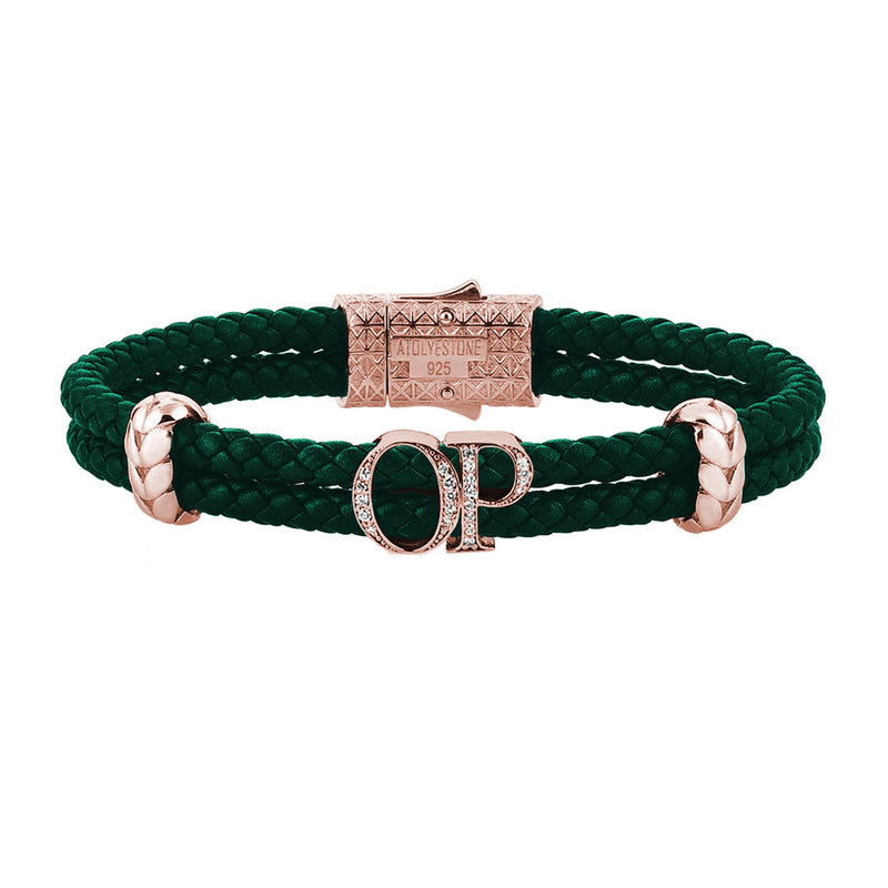 Atolyestone Mens Personalized Leather Bracelet - Rose Gold - Pave White Diamond - Dark Green
