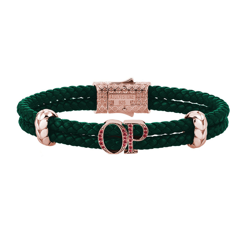 Atolyestone Mens Personalized Leather Bracelet - Rose Gold - Pave Ruby - Dark Green