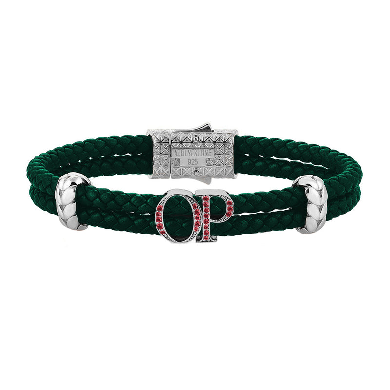 Atolyestone Mens Personalized Leather Bracelet - Silver - Pave Ruby - Dark Green