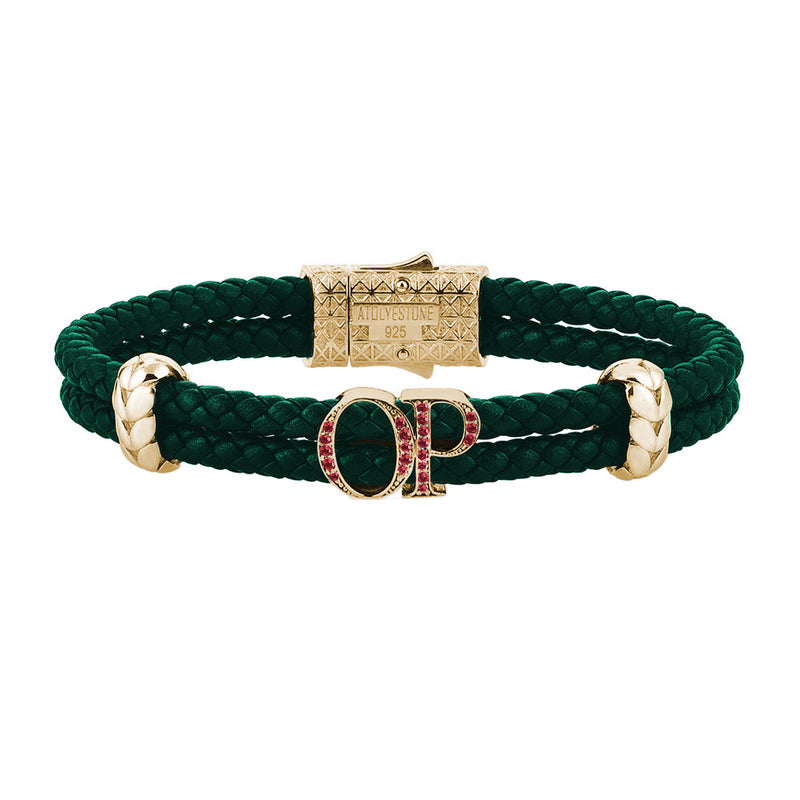 Atolyestone Mens Personalized Leather Bracelet - Yellow Gold - Pave Ruby - Dark Green