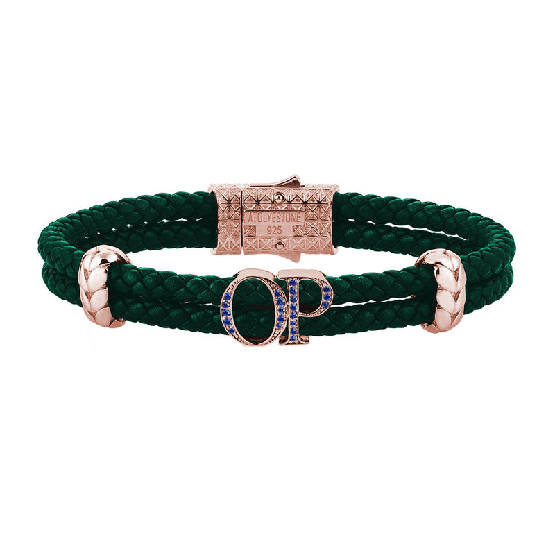 Atolyestone Mens Personalized Leather Bracelet - Rose Gold - Pave Sapphire - Dark Green