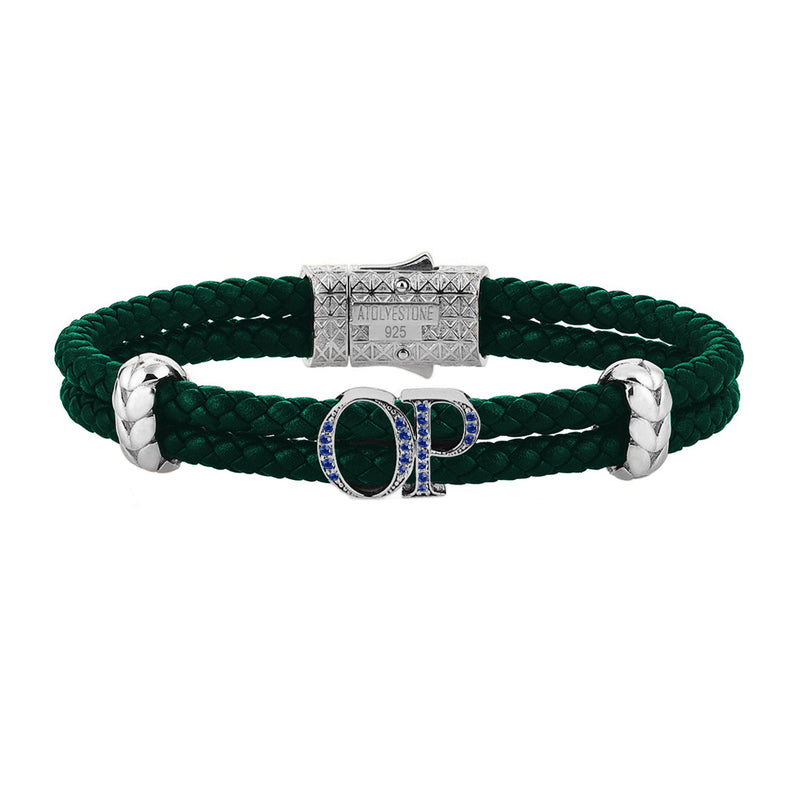 Atolyestone Mens Personalized Leather Bracelet - Silver - Pave Sapphire - Dark Green