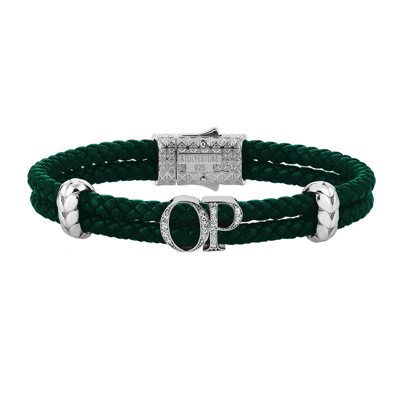 Atolyestone Mens Personalized Leather Bracelet - Silver - Pave White Diamond - Dark Green