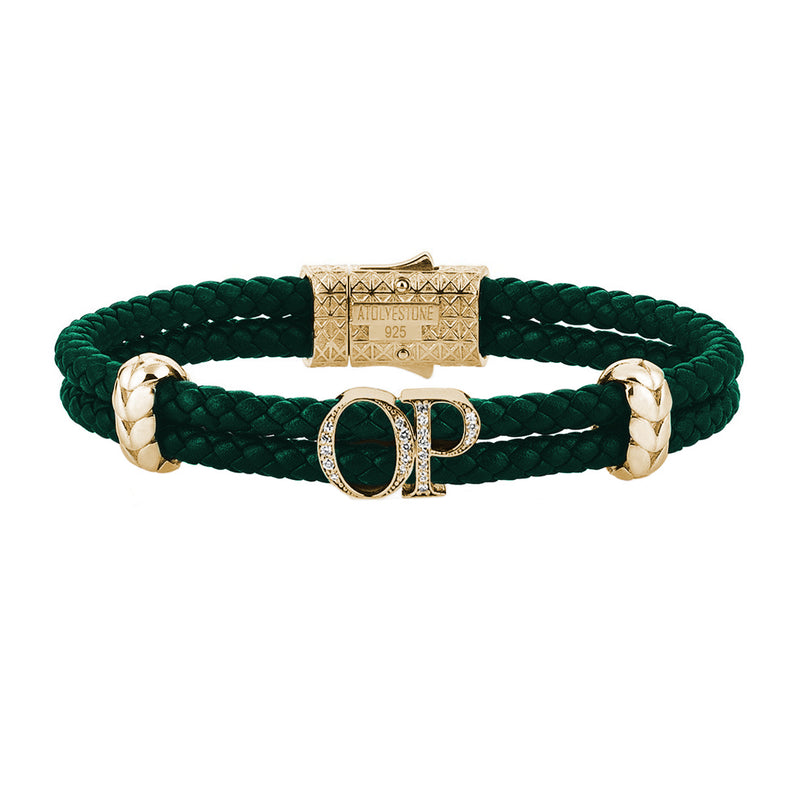 Atolyestone Mens Personalized Leather Bracelet - Yellow Gold - Pave White Diamond - Dark Green