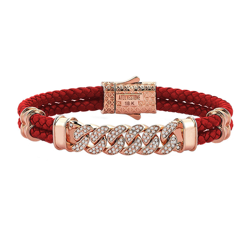 Mens Cuban Links Leather Bracelet - Red Leather - Solid Rose Gold