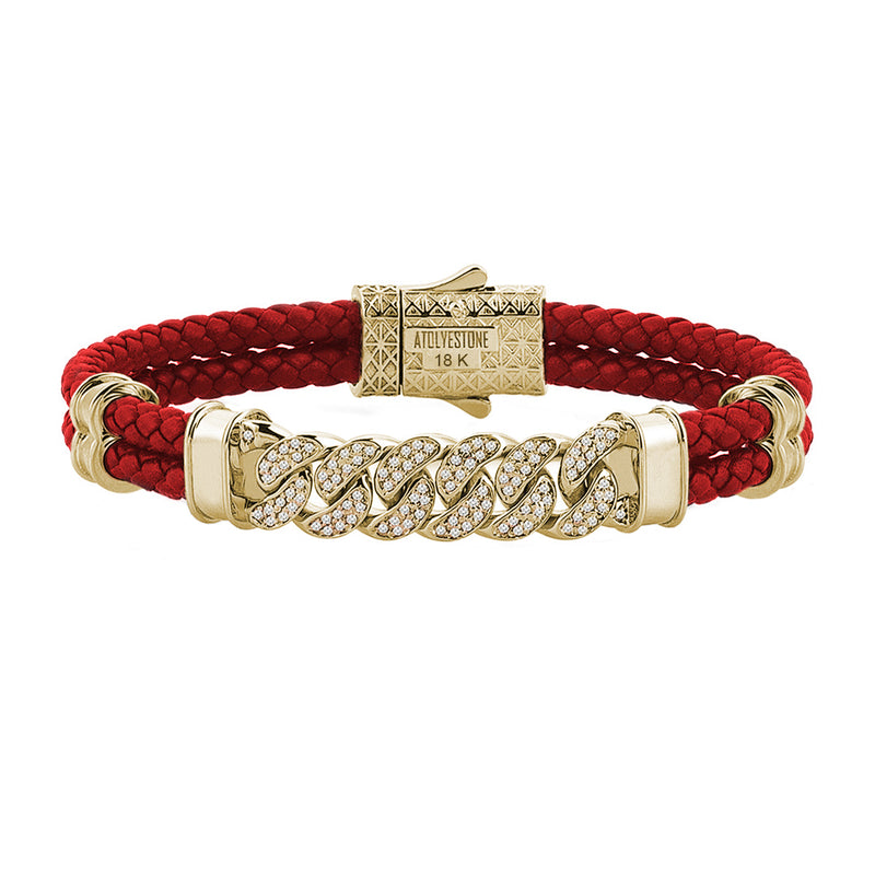 Mens Cuban Links Leather Bracelet - Red Leather - Solid Yellow Gold
