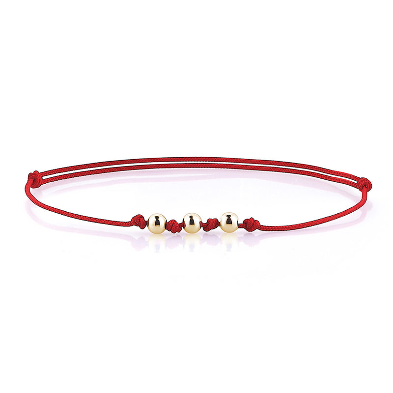 Minimalist Macrame Bracelet - Red - Yellow Gold