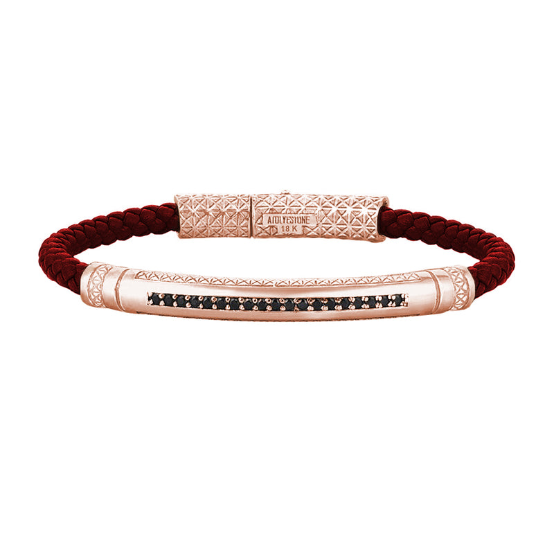 Mens Signature Leather Bracelet - Solid Rose Gold - Dark Red Leather