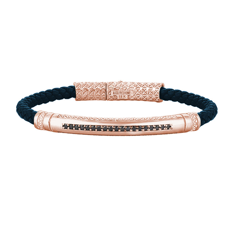 Mens Signature Leather Bracelet - Solid Rose Gold - Navy Leather - Black Diamond