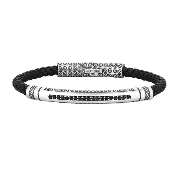 Mens Signature Leather Bracelet - Solid Silver - Black Leather