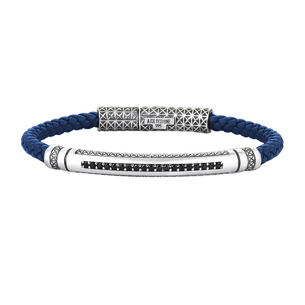 Mens Signature Leather Bracelet - Solid Silver - Blue Leather