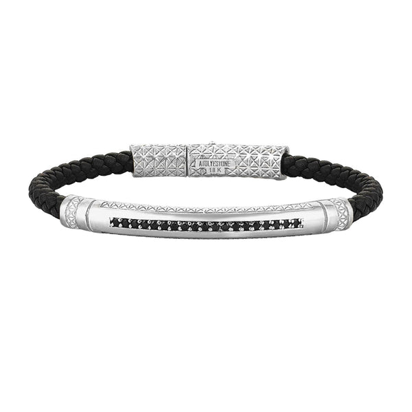 Mens Signature Leather Bracelet - Solid White Gold - Black Leather - Cubic Zirconia