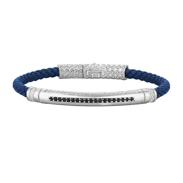 Mens Signature Leather Bracelet - Solid White Gold - Blue Leather - Cubic Zirconia