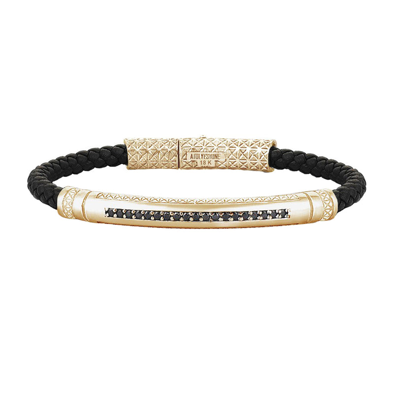 Mens Signature Leather Bracelet - Solid Yellow Gold - Black Leather - Black Diamond