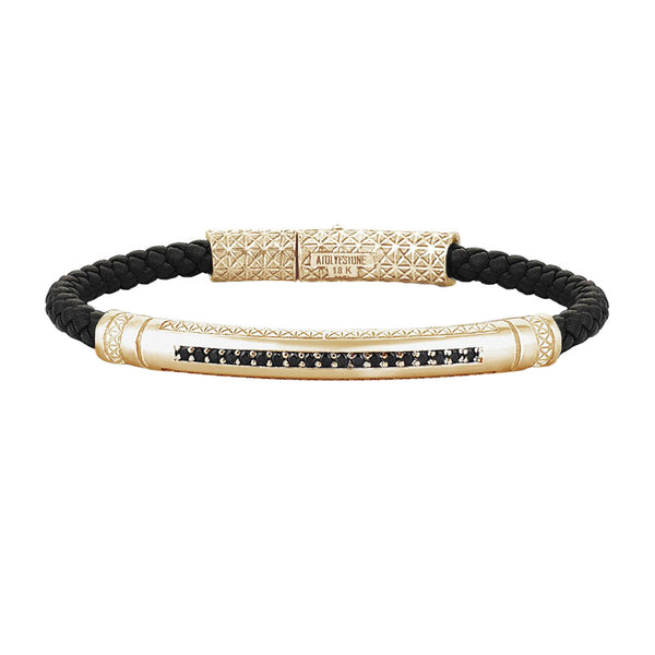 Mens Signature Leather Bracelet - Solid Yellow Gold - Black Leather - Cubic Zirconia