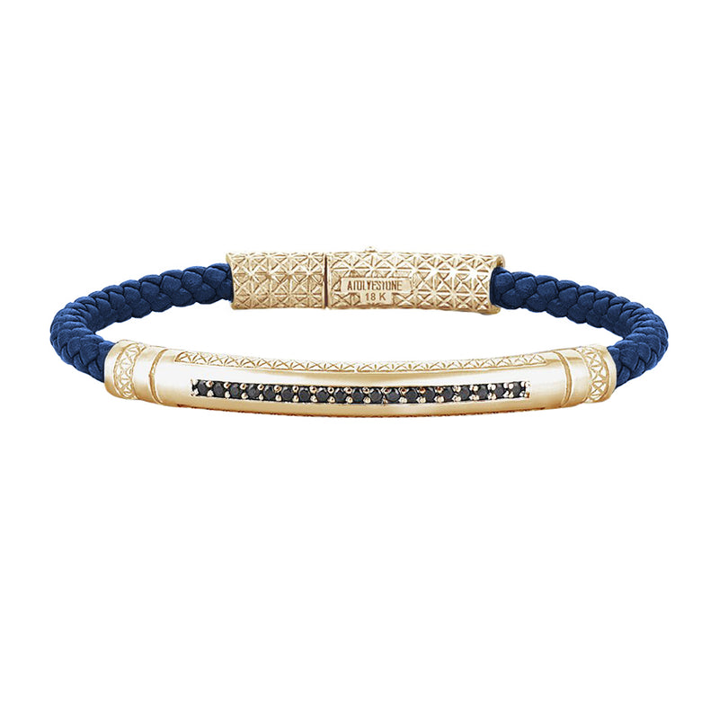 Mens Signature Leather Bracelet - Solid Yellow Gold - Blue Leather - Black Diamond