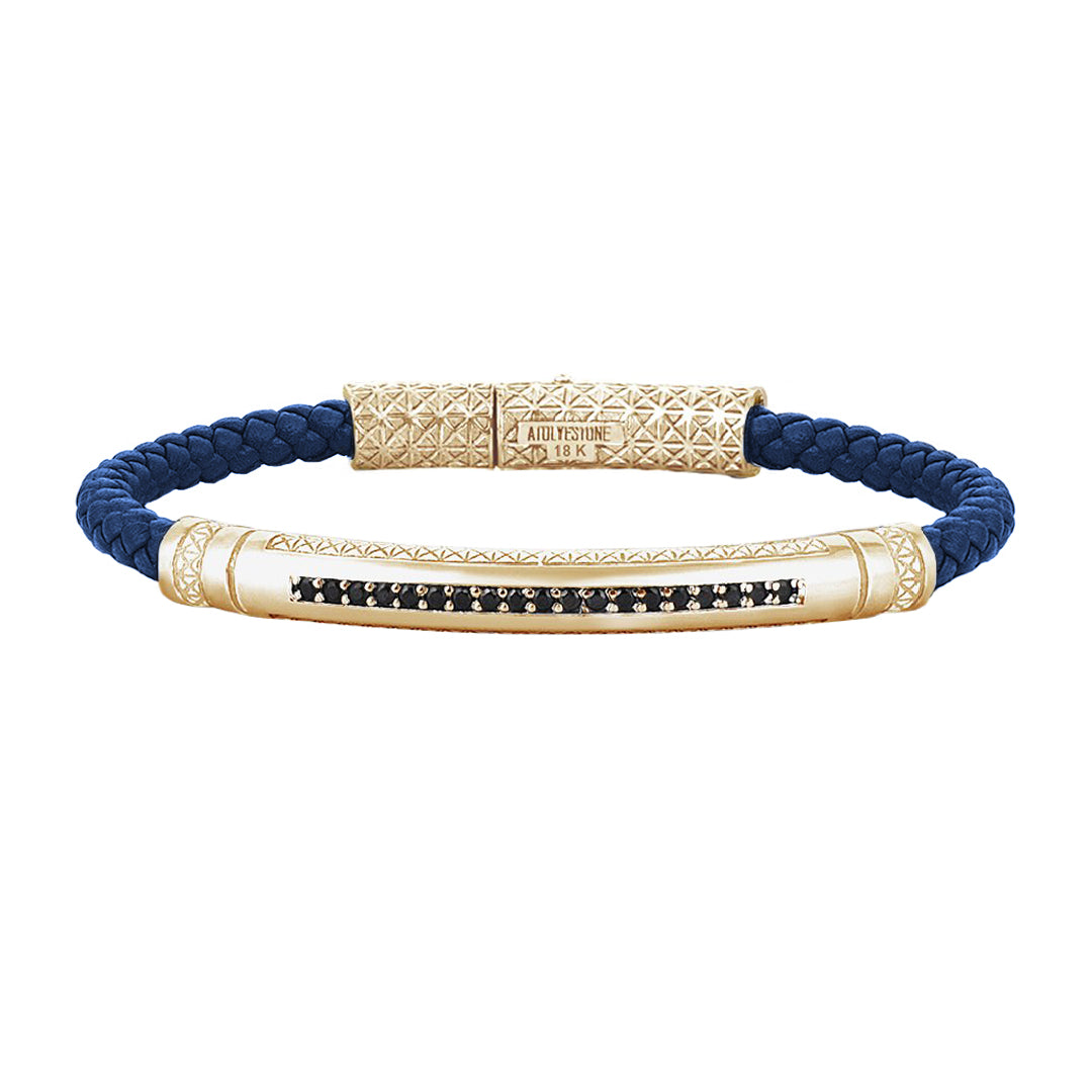 Mens Signature Leather Bracelet - Solid Yellow Gold - Blue Leather