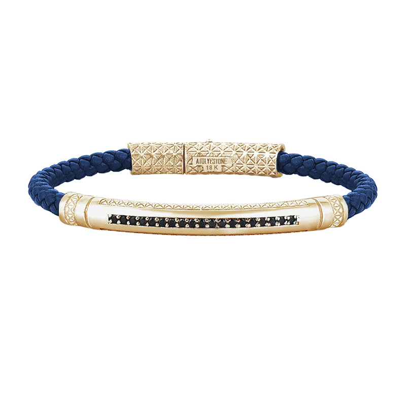 Mens Signature Leather Bracelet - Solid Yellow Gold - Blue Leather - Cubic Zirconia