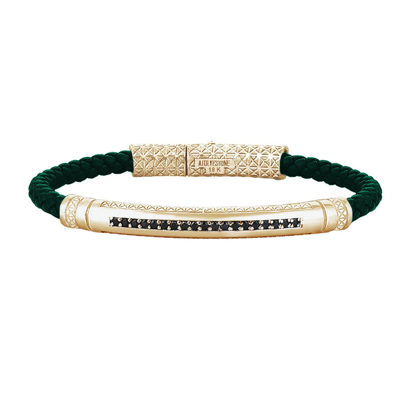 Mens Signature Leather Bracelet - Solid Yellow Gold - Dark Green Leather - Cubic Zirconia