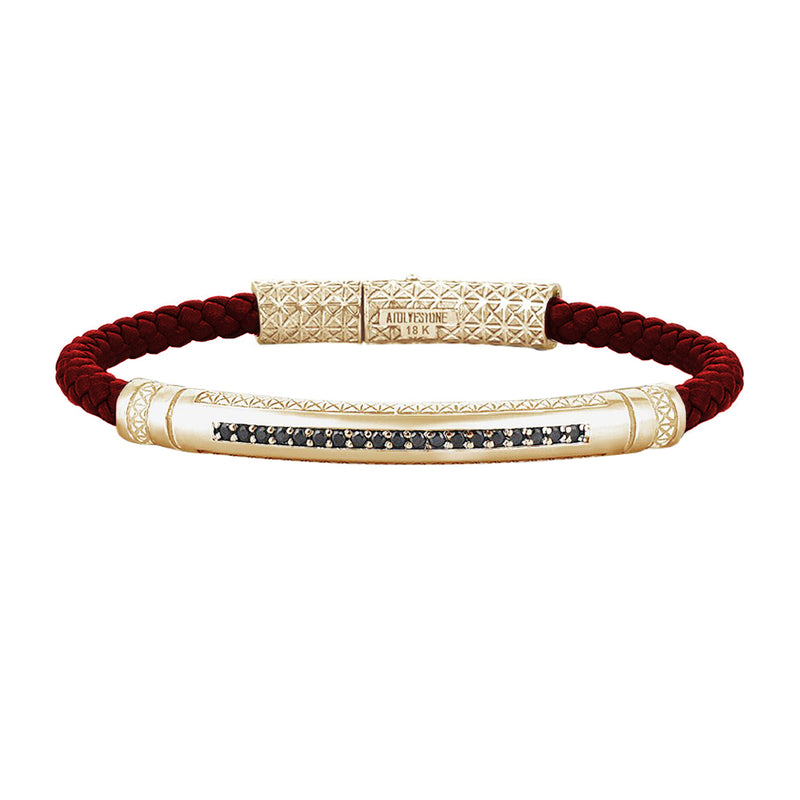 Mens Signature Leather Bracelet - Solid Yellow Gold - Dark Red Leather - Black Diamond