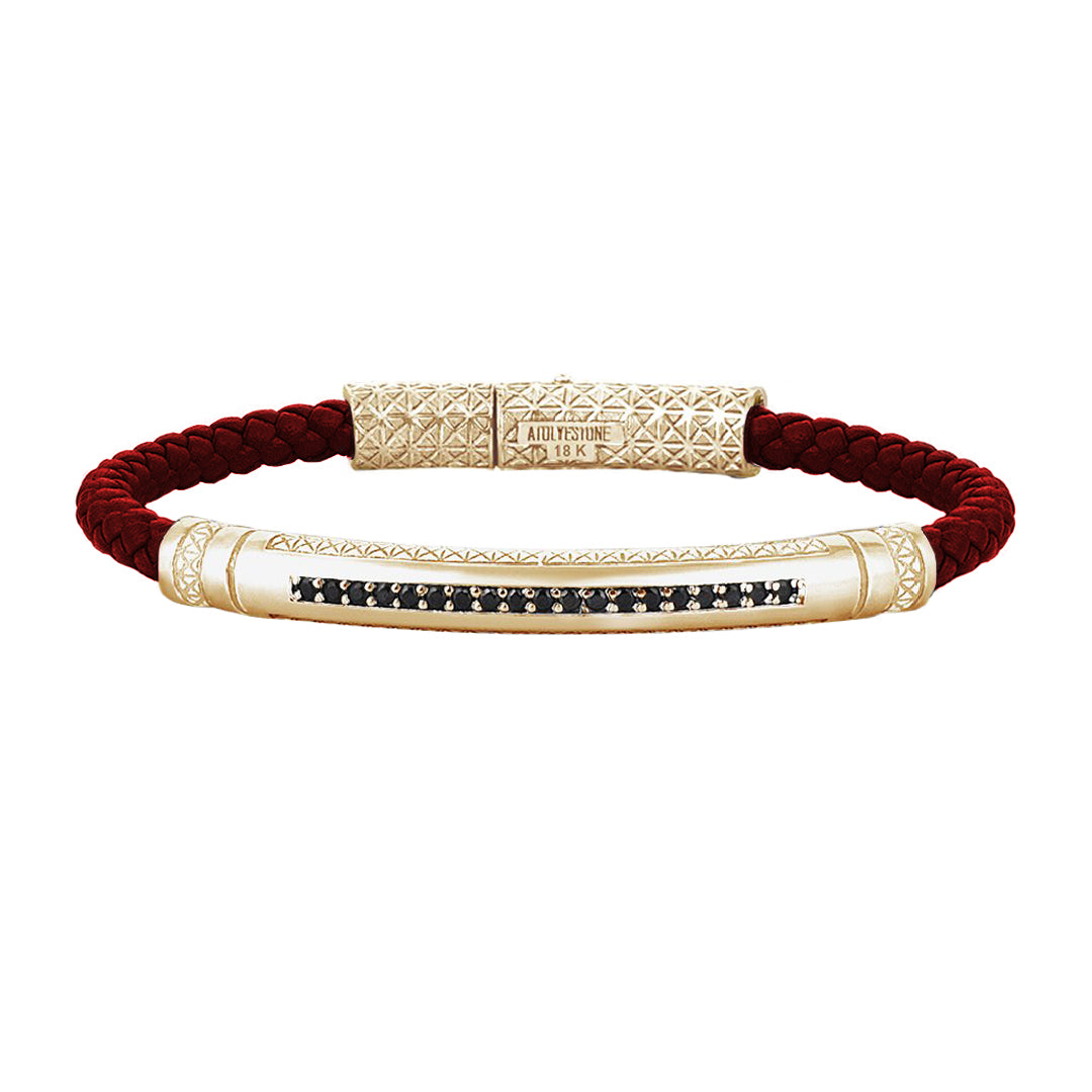 Mens Signature Leather Bracelet - Solid Yellow Gold - Dark Red Leather