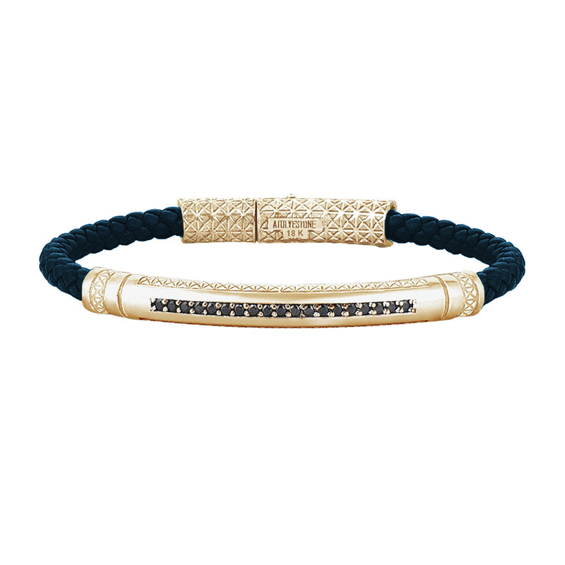Mens Signature Leather Bracelet - Solid Yellow Gold - Navy Leather - Black Diamond