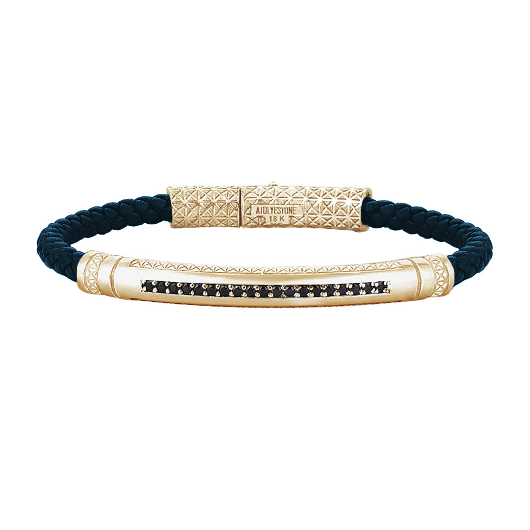 Mens Signature Leather Bracelet - Solid Yellow Gold - Navy Leather